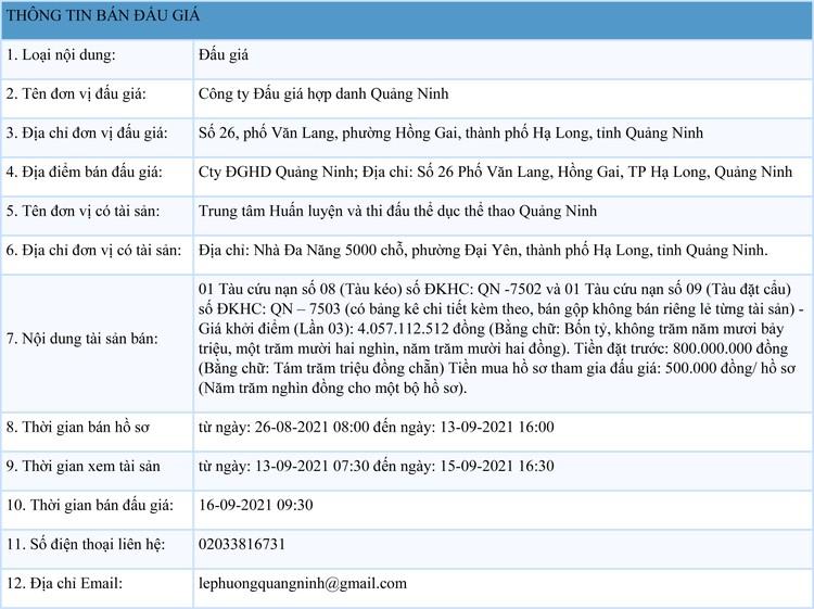 Ngày 16/9/2021, đấu giá 2 tàu cứu nạn tại tỉnh Quảng Ninh ảnh 1