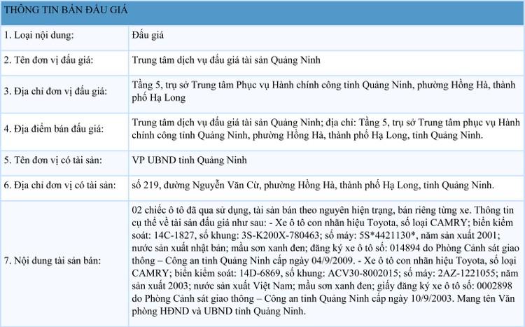 Ngày 14/9/2021, đấu giá 2 xe ô tôđã qua sử dụng tại tỉnh Quảng Ninh ảnh 1