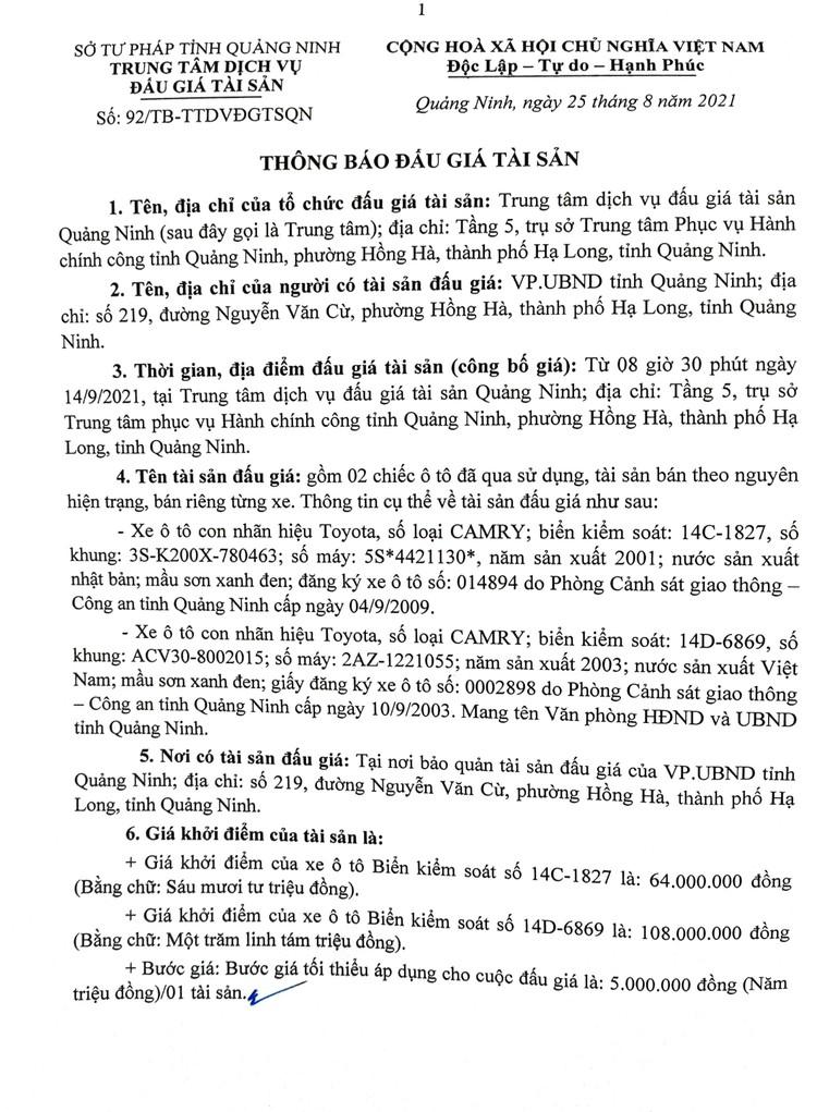 Ngày 14/9/2021, đấu giá 2 xe ô tôđã qua sử dụng tại tỉnh Quảng Ninh ảnh 3