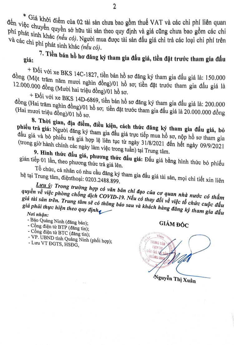 Ngày 14/9/2021, đấu giá 2 xe ô tôđã qua sử dụng tại tỉnh Quảng Ninh ảnh 4