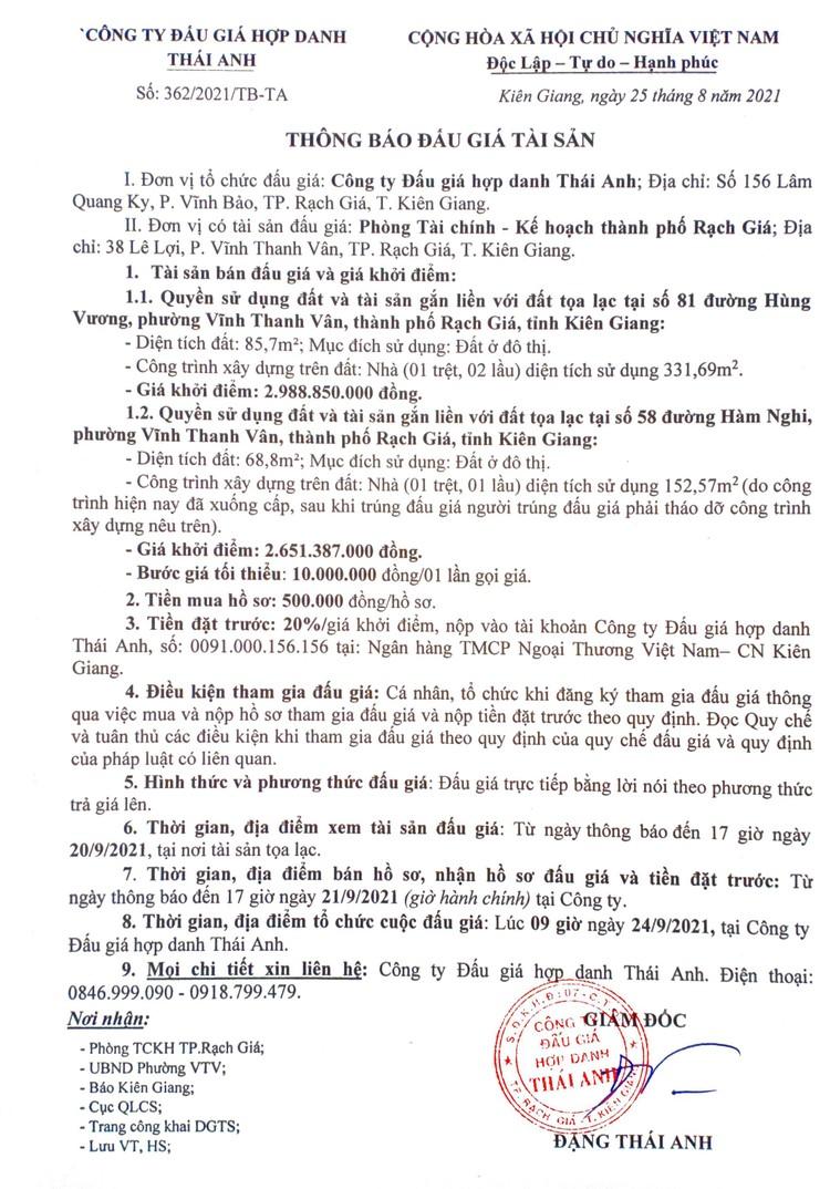 Ngày 24/9/2021, đấu giá quyền sử dụng đất tại thành phố Rạch Giá, tỉnh Kiên Giang ảnh 3