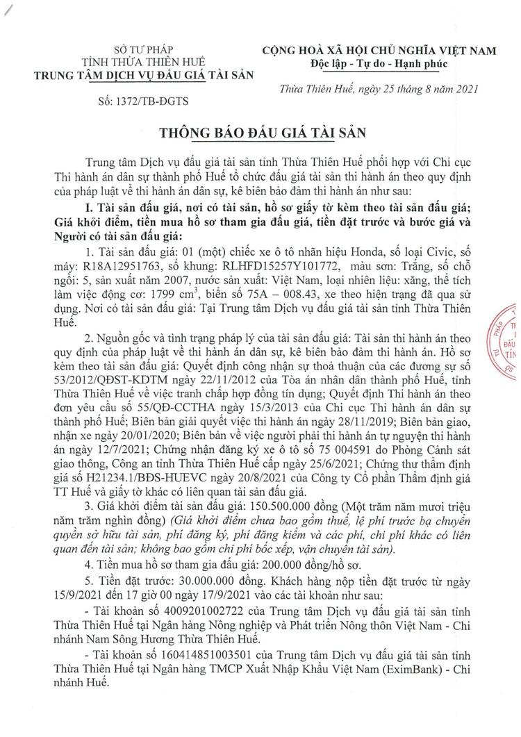 Ngày 20/9/2021, đấu giá xe ô tô Honda tại tỉnh Thừa Thiên Huế ảnh 2