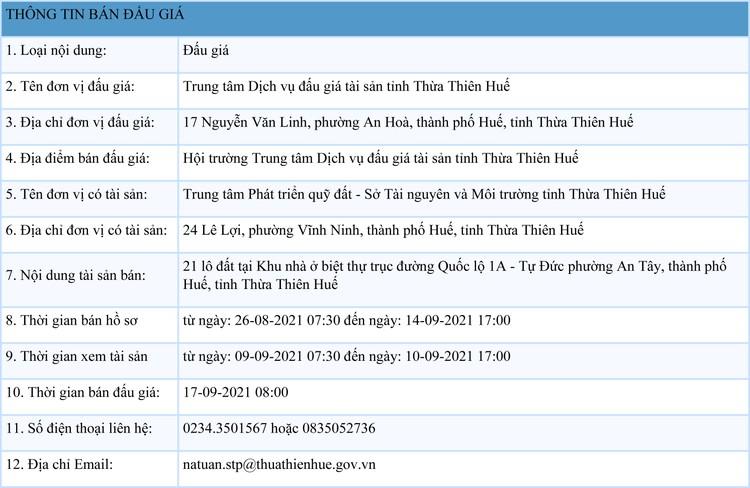 Ngày 17/9/2021, đấu giá quyền sử dụng 21 lô đất tại thành phố Huế, tỉnh Thừa Thiên Huế ảnh 1