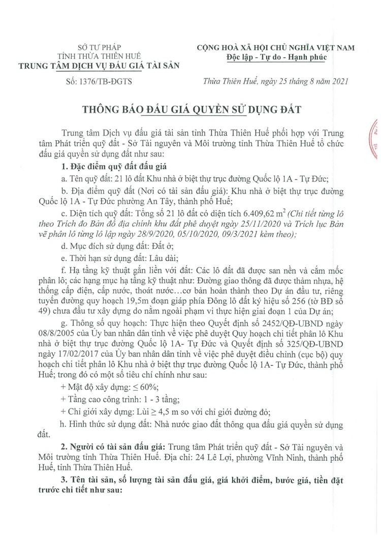 Ngày 17/9/2021, đấu giá quyền sử dụng 21 lô đất tại thành phố Huế, tỉnh Thừa Thiên Huế ảnh 2
