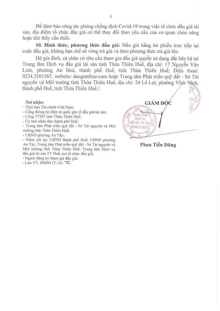 Ngày 17/9/2021, đấu giá quyền sử dụng 21 lô đất tại thành phố Huế, tỉnh Thừa Thiên Huế ảnh 6