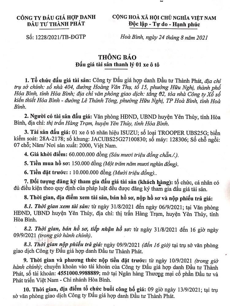 Ngày 13/9/2021, đấu giá xe ô tô ISUZU tại tỉnh Hòa Bình ảnh 2