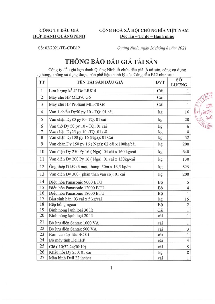 Ngày 13/9/2021, đấu giá lô tài sản phế liệu thanh lý tại tỉnh Quảng Ninh ảnh 2
