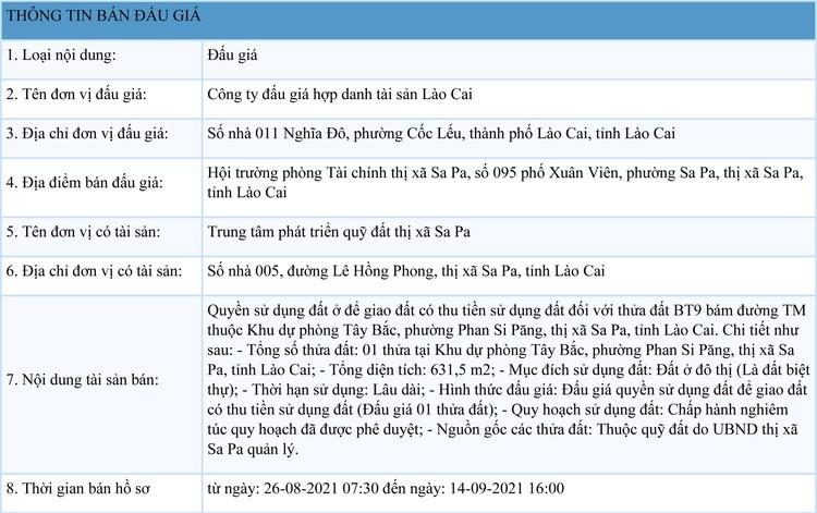 Ngày 17/9/2021, đấu giá quyền sử dụng đất tại thị xã Sa Pa, tỉnh Lào Cai ảnh 1