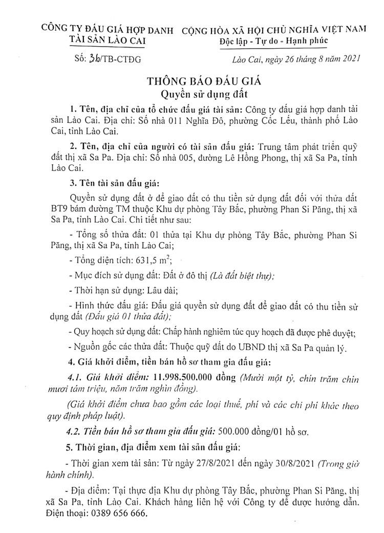 Ngày 17/9/2021, đấu giá quyền sử dụng đất tại thị xã Sa Pa, tỉnh Lào Cai ảnh 3