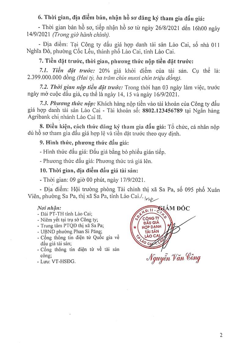 Ngày 17/9/2021, đấu giá quyền sử dụng đất tại thị xã Sa Pa, tỉnh Lào Cai ảnh 4