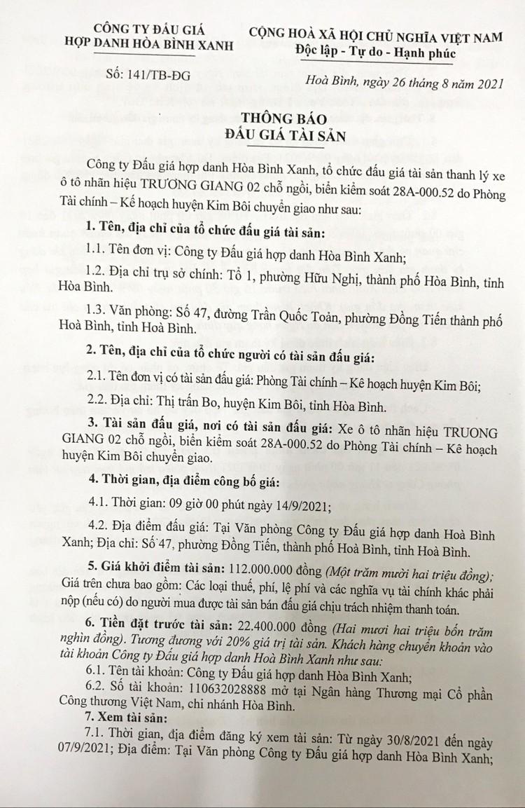 Ngày 14/9/2021, đấu giá xe ô tô TRUONG GIANG 02 tại tỉnh Hòa Bình ảnh 2