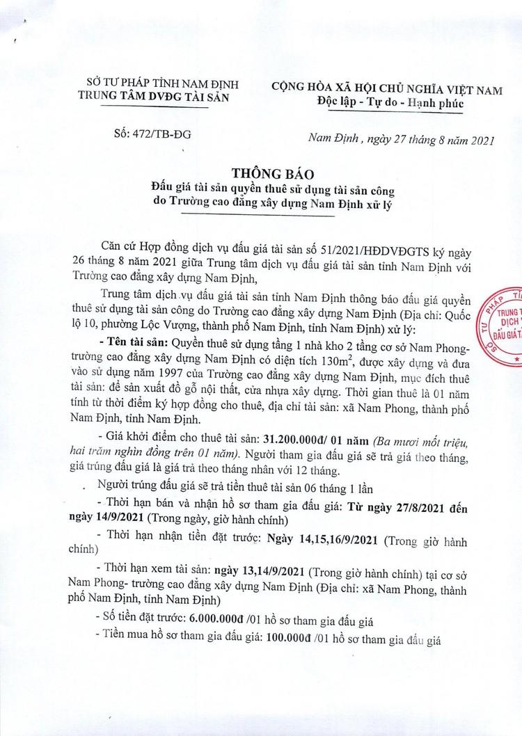 Ngày 17/9/2021, đấu giá quyền sử dụng mặt bằng tại Trường cao đẳng xây dựng Nam Định, tỉnh Nam Định ảnh 2