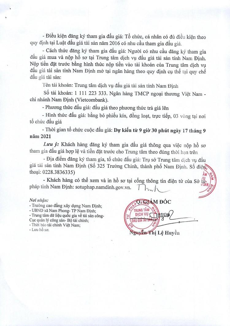 Ngày 17/9/2021, đấu giá quyền sử dụng mặt bằng tại Trường cao đẳng xây dựng Nam Định, tỉnh Nam Định ảnh 3