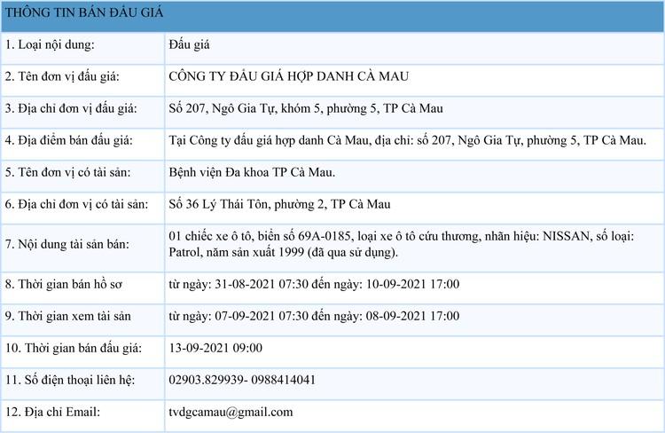 Ngày 13/9/2021, đấu giá 1 xe ô tô cứu thương NISSAN tại tỉnh Cà Mau ảnh 1