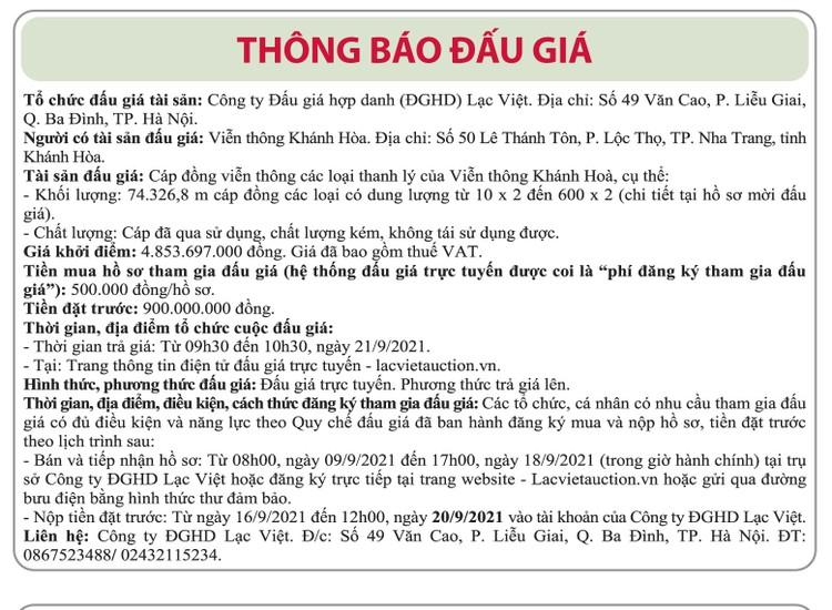 Ngày 21/9/2021, đấu giá cáp đồng viễn thông các loại tại tỉnh Khánh Hòa ảnh 1