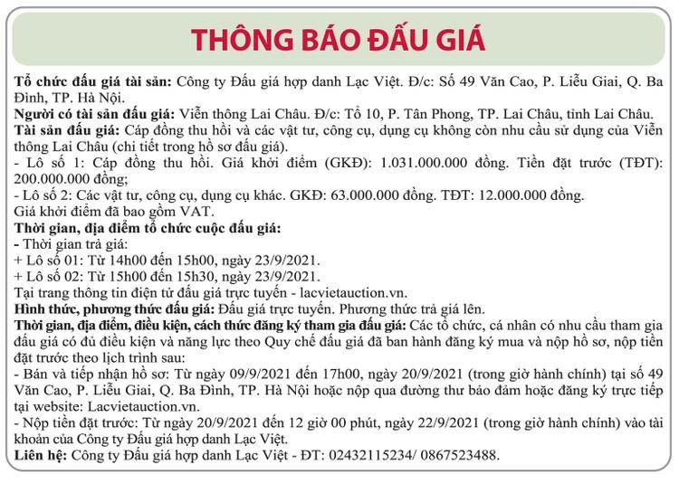 Ngày 23/9/2021, đấu giá cáp đồng thu hồi và các vật tư, dụng cụ tại tỉnh Lai Châu ảnh 1