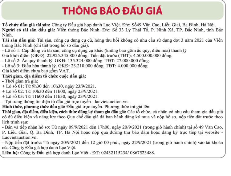 Ngày 23/9/2021, đấu giá cáp đồng và ắc quy thanh lý tại tỉnh Bắc Ninh ảnh 1
