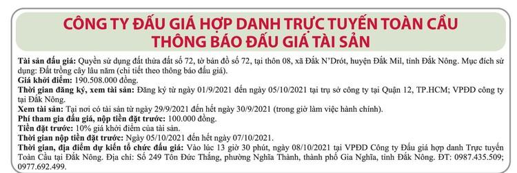 Ngày 8/10/2021, đấu giá quyền sử dụng đất tại huyện Đắk Mil, tỉnh Đắk Nông ảnh 1