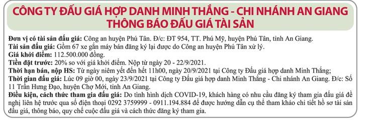 Ngày 23/9/2021, đấu giá 67 xe gắn máy tại tỉnh An Giang ảnh 1