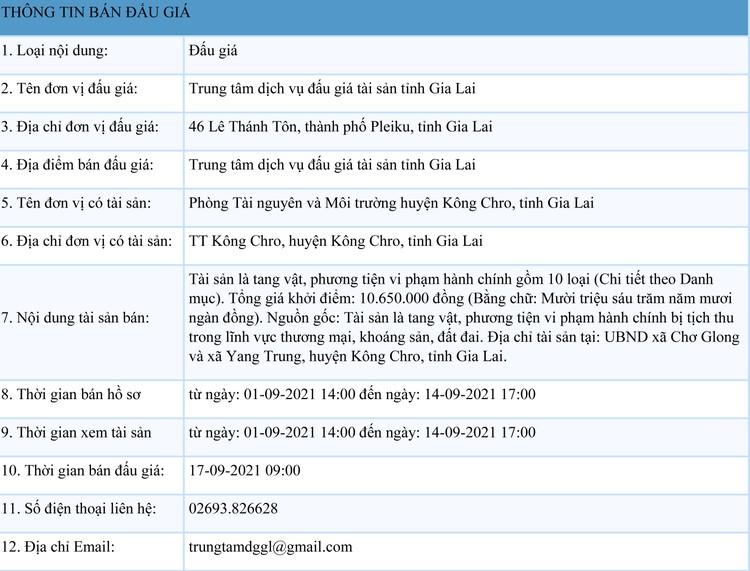 Ngày 17/9/2021, đấu giá tang vật, phương tiện vi phạm hành chính tại tỉnh Gia Lai ảnh 1