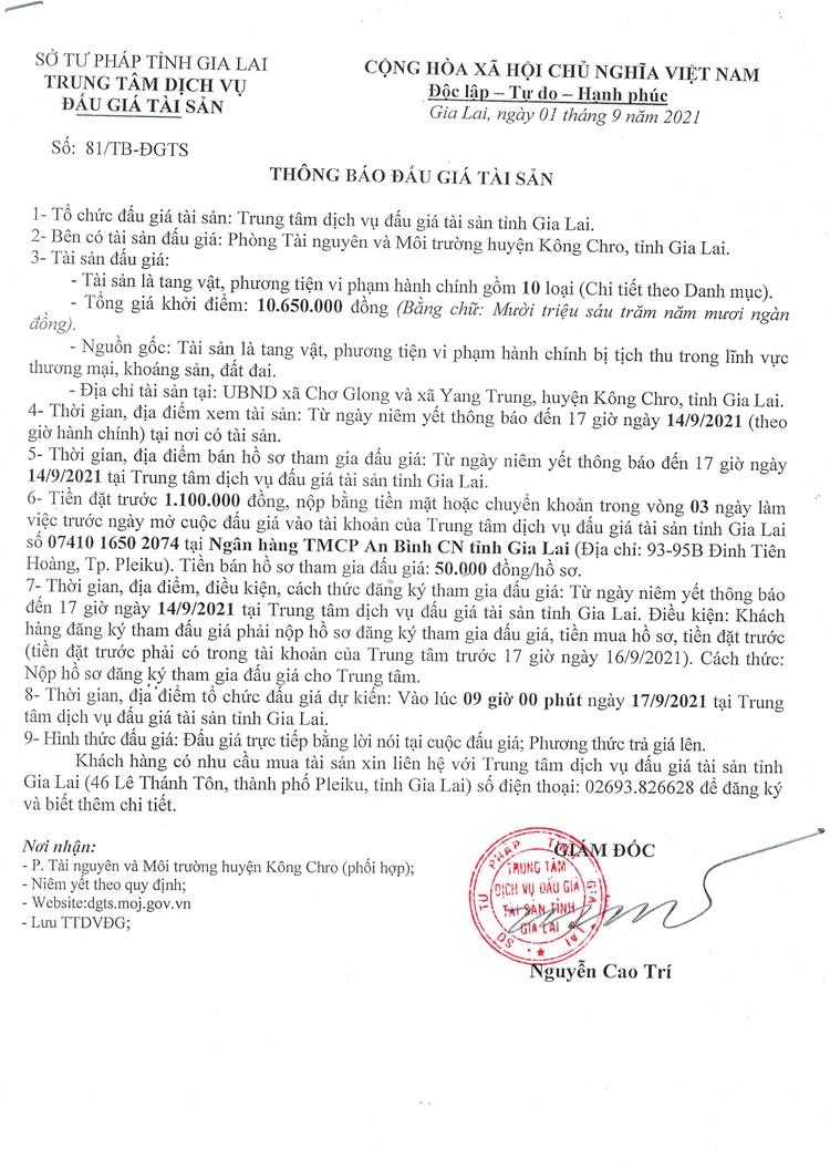 Ngày 17/9/2021, đấu giá tang vật, phương tiện vi phạm hành chính tại tỉnh Gia Lai ảnh 2
