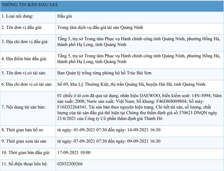 Ngày 17/9/2021, đấu giá xe ô tô DAEWOO tại tỉnh Hoà Bình ảnh 1