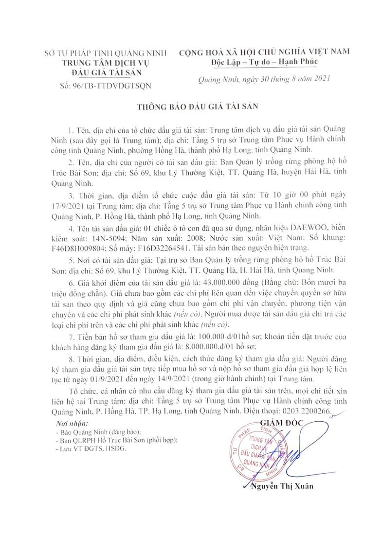 Ngày 17/9/2021, đấu giá xe ô tô DAEWOO tại tỉnh Hoà Bình ảnh 3