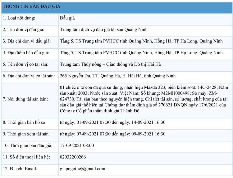 Ngày 17/9/2021, đấu giá xe ô tô Mazda 323 tại tỉnh Quảng Ninh ảnh 1