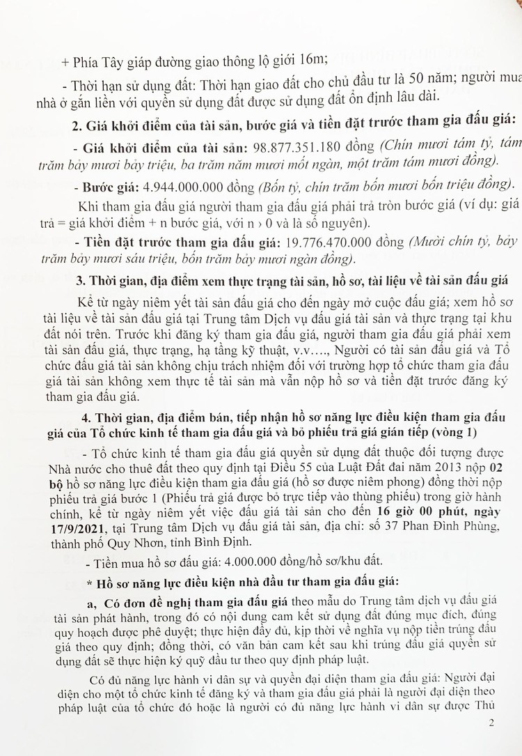 Ngày 25/9/2021, đấu giá quyền sử dụng 48.389,32 m2 đất tại Khu kinh tế Nhơn Hội, tỉnh Bình Định ảnh 3