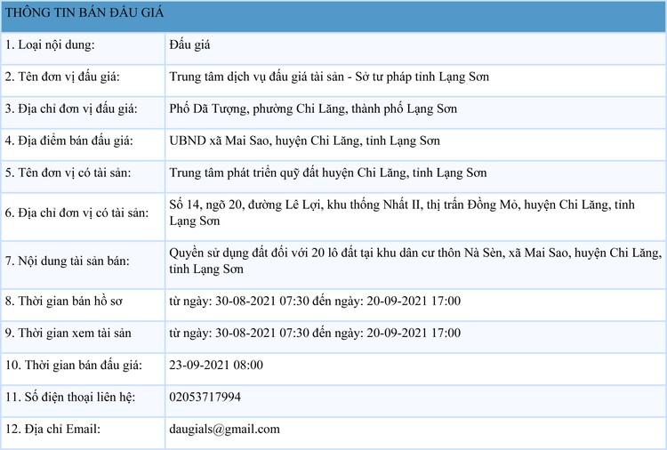 Ngày 23/9/2021, đấu giá quyền sử dụng 20 lô đất tại huyện Chi Lăng, tỉnh Lạng Sơn ảnh 1