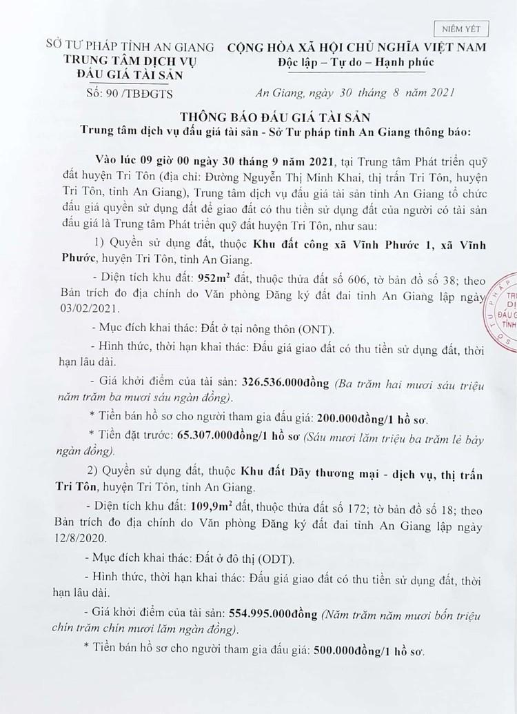 Ngày 30/9/2021, đấu giá quyền sử dụng 2 lô đất tại huyện Tri Tôn, tỉnh An Giang ảnh 3