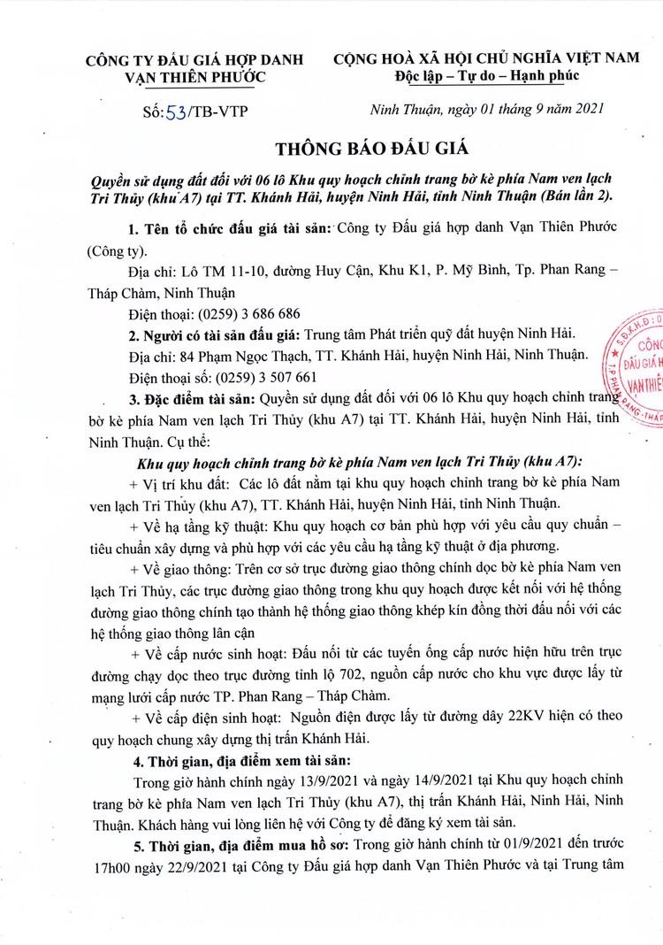Ngày 25/9/2021, đấu giá quyền sử dụng 6 lô đất tại huyện Ninh Hải, tỉnh Ninh Thuận ảnh 2
