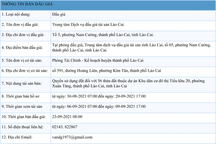 Ngày 23/9/2021, đấu giá quyền sử dụng 56 thửa đất tại thành phố Lào Cai, tỉnh Lào Cai ảnh 1