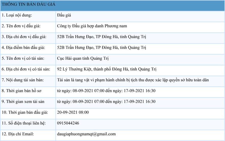 Ngày 20/9/2021, đấu giá tang vật vi phạm hành chính tại tỉnh Quảng Trị ảnh 1