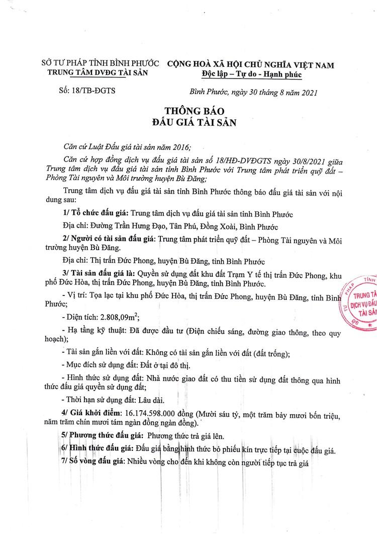 Ngày 30/9/2021, đấu giá quyền sử dụng đất tại huyện Bù Đăng, tỉnh Bình Phước ảnh 2