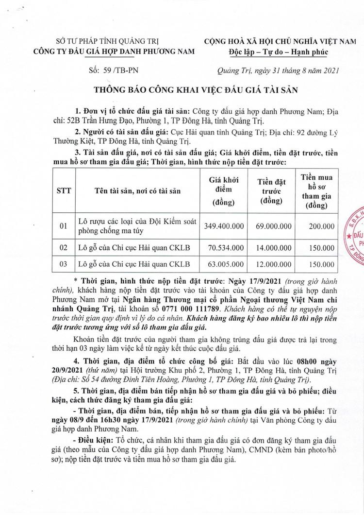 Ngày 20/9/2021, đấu giá tang vật vi phạm hành chính tại tỉnh Quảng Trị ảnh 2