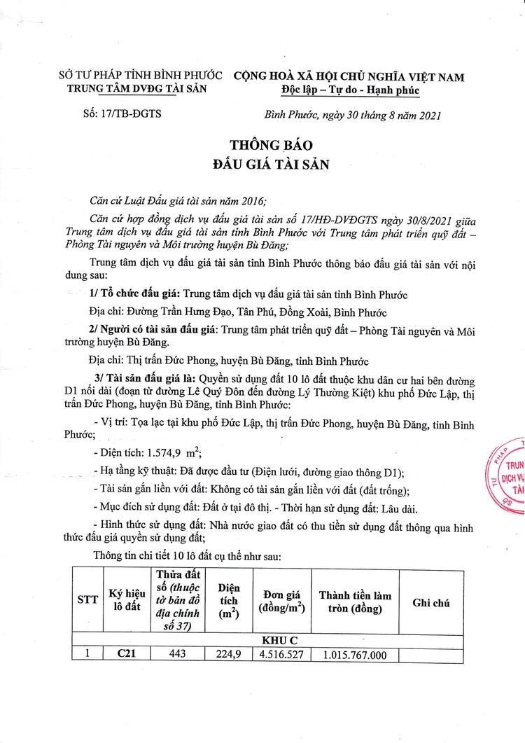 Ngày 30/9/2021, đấu giá quyền sử dụng 10 lô đất tại huyện Bù Đăng, tỉnh Bình Phước ảnh 2