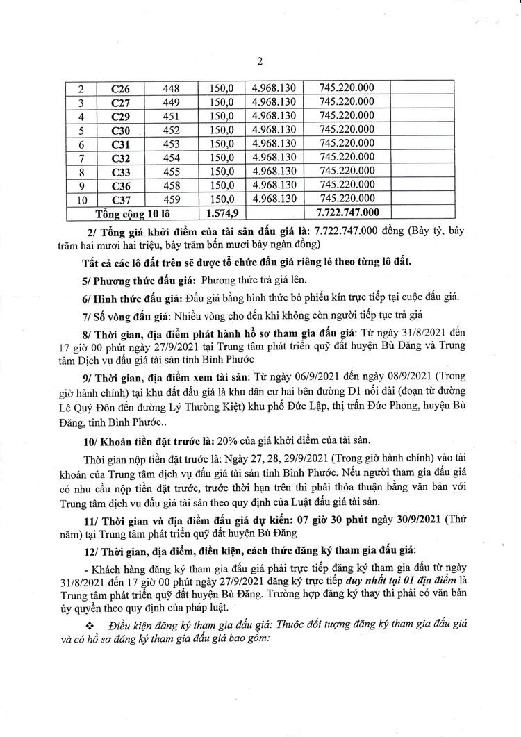 Ngày 30/9/2021, đấu giá quyền sử dụng 10 lô đất tại huyện Bù Đăng, tỉnh Bình Phước ảnh 3
