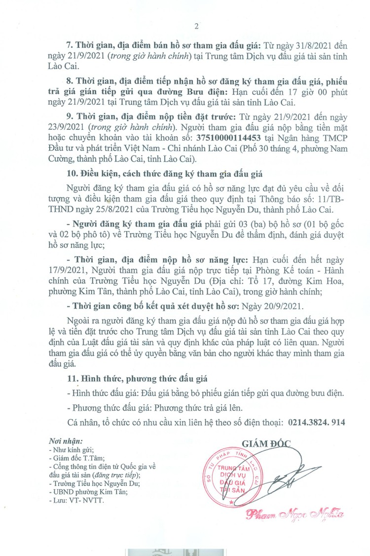 Ngày 24/9/2021, đấu giá cho thuê địa điểm kinh doanh dịch vụ tại Trường Tiều học Nguyễn Du, tỉnh Lào Cai ảnh 3