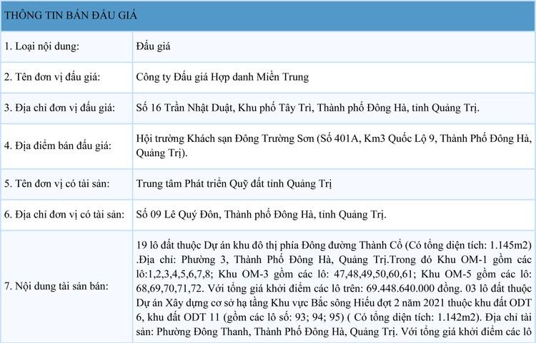 Ngày 25/9/2021, đấu giá quyền sử dụng 22 lô đất tại thành phố Đông Hà, tỉnh Quảng Trị ảnh 1
