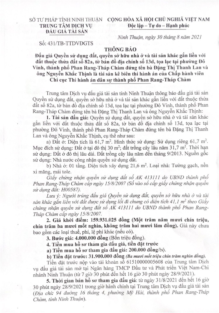 Ngày 1/10/2021, đấu giá quyền sử dụng 61,7 m2 đất tại thành phố Phan Rang-Tháp Chàm, tỉnh Ninh Thuận ảnh 3