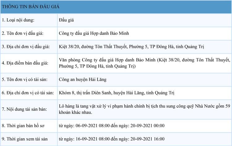 Ngày 23/9/2021, đấu giá tang vật xử lý vi phạm hành chính bị tịch thu tại tỉnh Quảng Trị ảnh 1