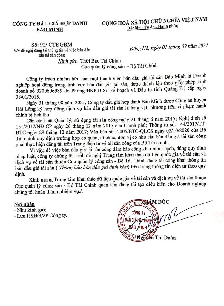 Ngày 23/9/2021, đấu giá tang vật xử lý vi phạm hành chính bị tịch thu tại tỉnh Quảng Trị ảnh 3