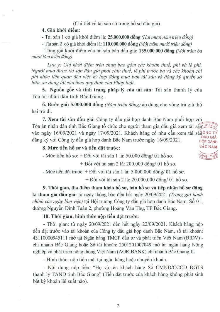 Ngày 23/9/2021, đấu giá 2 xe ô tô tại tỉnh Bắc Giang ảnh 4