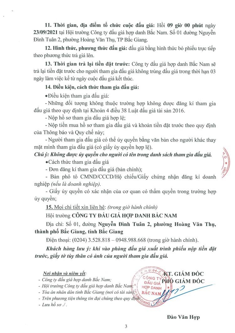 Ngày 23/9/2021, đấu giá 2 xe ô tô tại tỉnh Bắc Giang ảnh 5