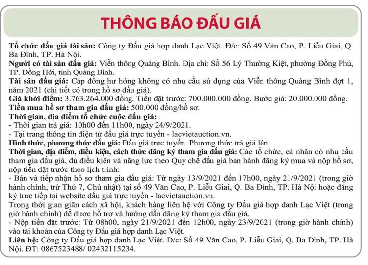 Ngày 24/9/2021, đấu giá cáp đồng hư hỏng tại tỉnh Quảng Bình ảnh 1