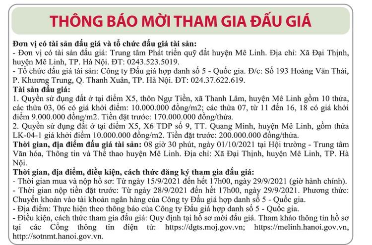 Ngày 01/10/2021, đấu giá quyền sử dụng đất tại huyện Mê Linh, Hà Nội ảnh 1