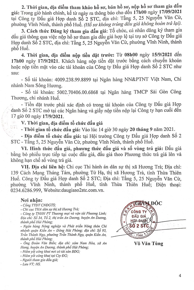 Ngày 20/9/2021, đấu giá xe đầu kéo INTERNATIONAL PROSTAR tại tỉnh Thừa Thiên Huế ảnh 5