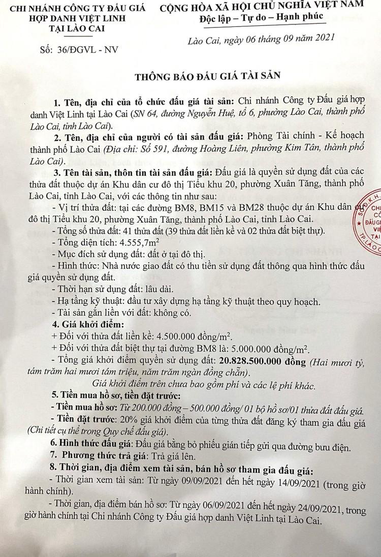 Ngày 27/9/2021, đấu giá quyền sử dụng 41 thửa đất tại thành phố Lào Cai, tỉnh Lào Cai ảnh 2