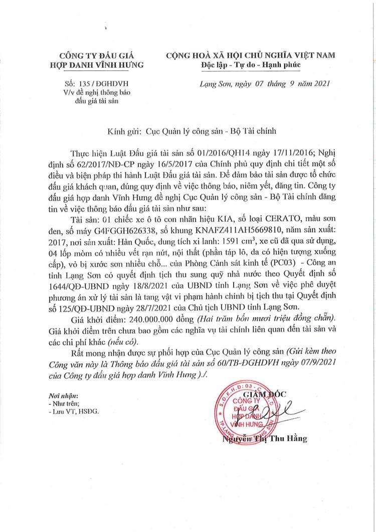 Ngày 23/9/2021, đấu giá 01 xe ô tô KIA tại tỉnh Lạng Sơn ảnh 2